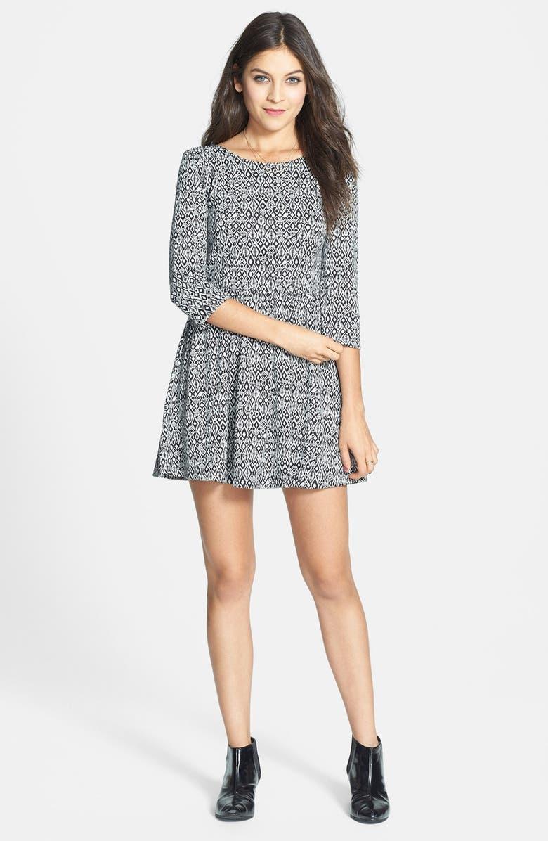 BP. Geometric Jacquard Skater Dress, Main, color, 001