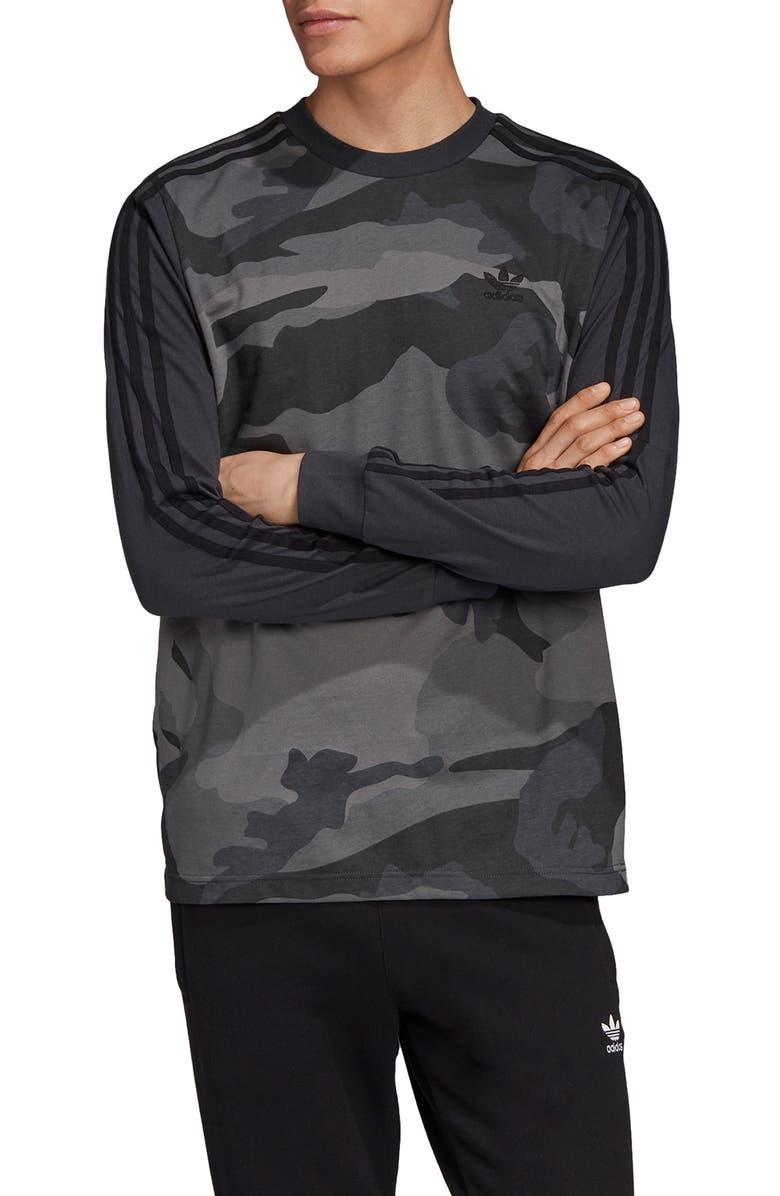 ADIDAS ORIGINALS Long Sleeve Camo T-Shirt, Main, color, MULTICOLOR/ CARBON