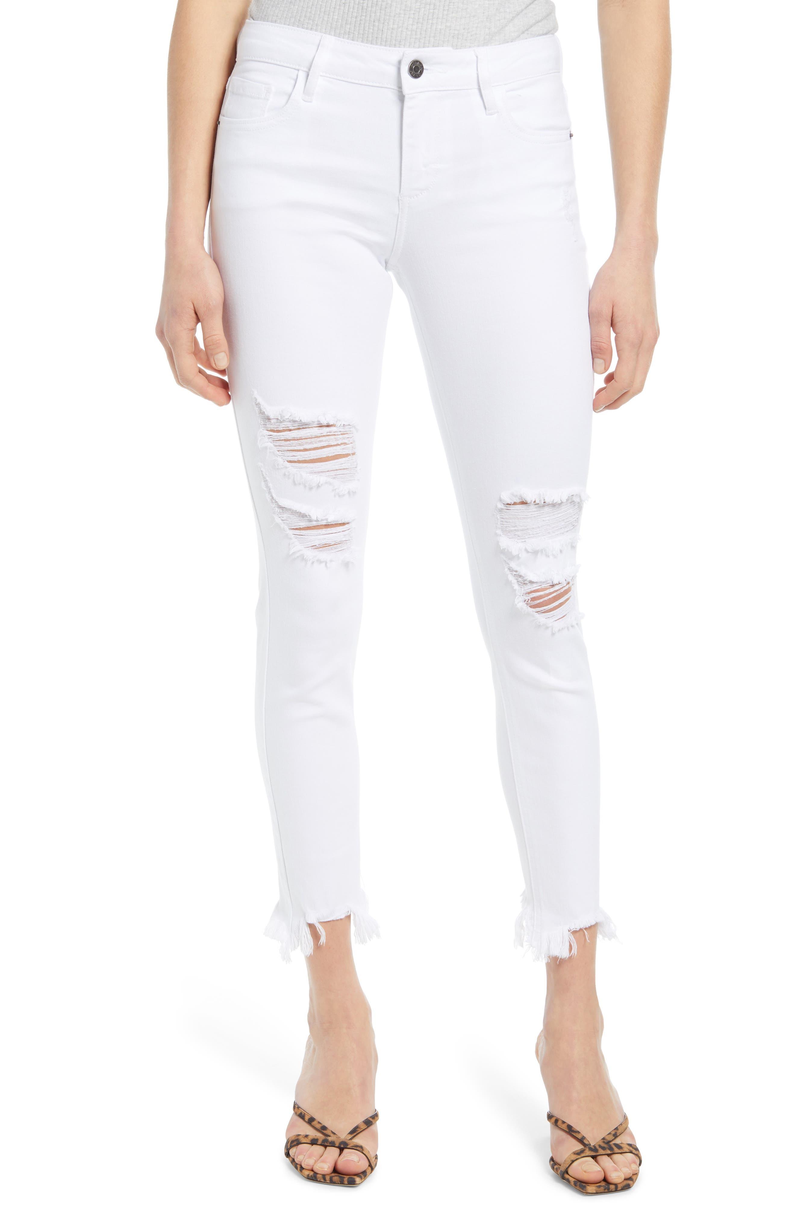 Ripped Raw Step Hem Ankle Skinny Jeans