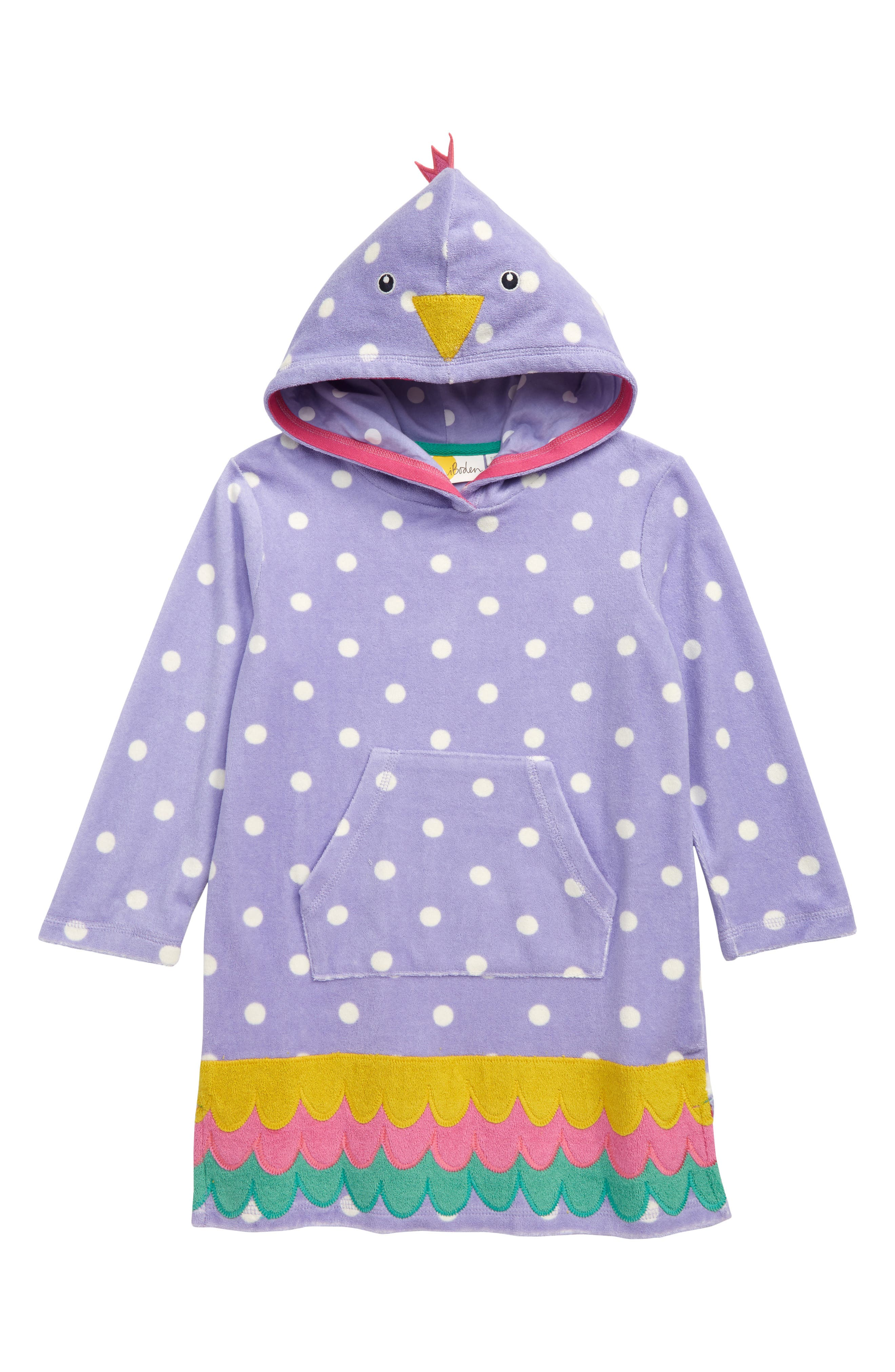Girls Mini Boden Fun Terry Hooded CoverUp Dress Size 67Y  Purple