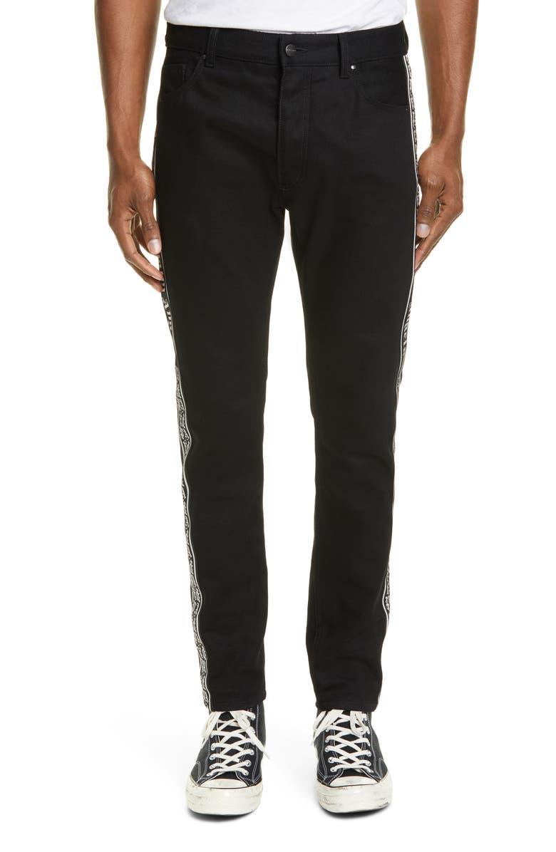 PALM ANGELS Side Tape Jeans, Main, color, BLACK WASH