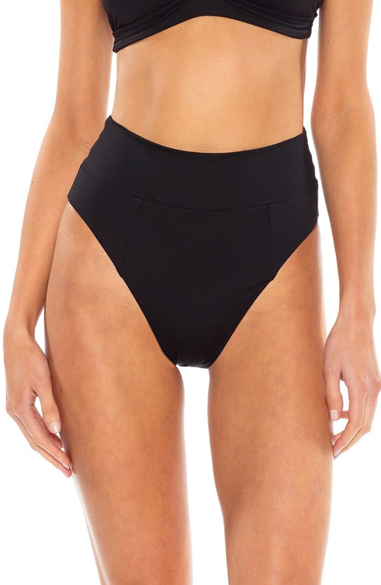 BECCA Color Code High Waist Bikini Bottoms, Main, color, BLACK