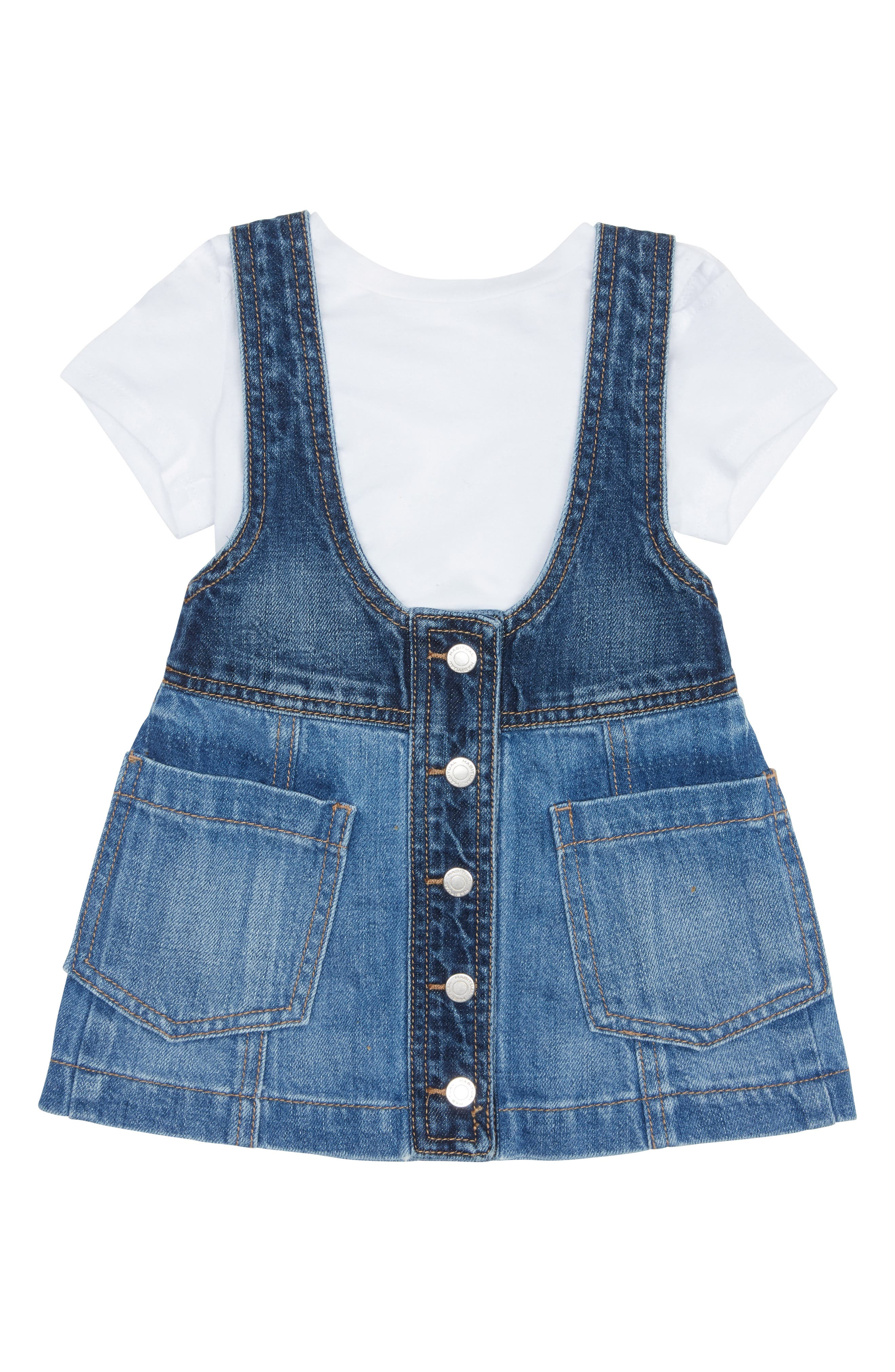 Toddler Girls Habitual Denim Jumper Dress  Tee Set