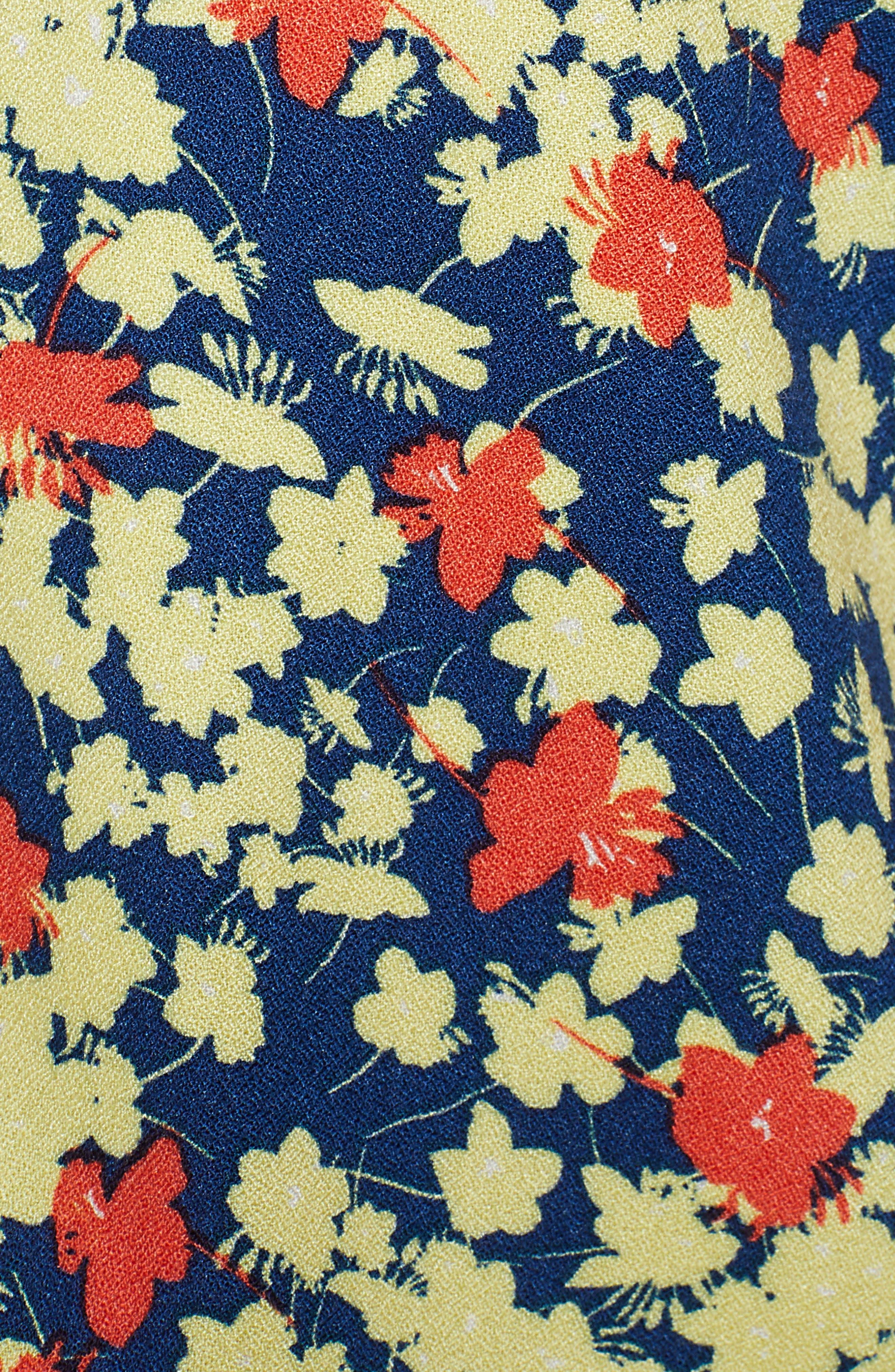 ,                             Pullover V-Neck Blouse,                             Alternate thumbnail 5, color,                             BLUE ESTATE- CORAL MIA FLORAL