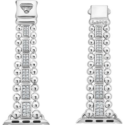 Lagos Smart Caviar Sterling Silver & Diamond Link Band For Apple Watch