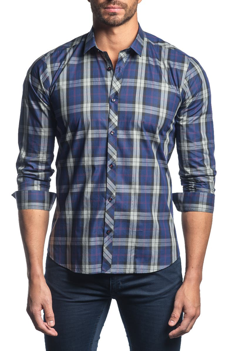 JARED LANG Slim Fit Plaid Button-Up Sport Shirt, Main, color, FRENCH BLUE PLAID