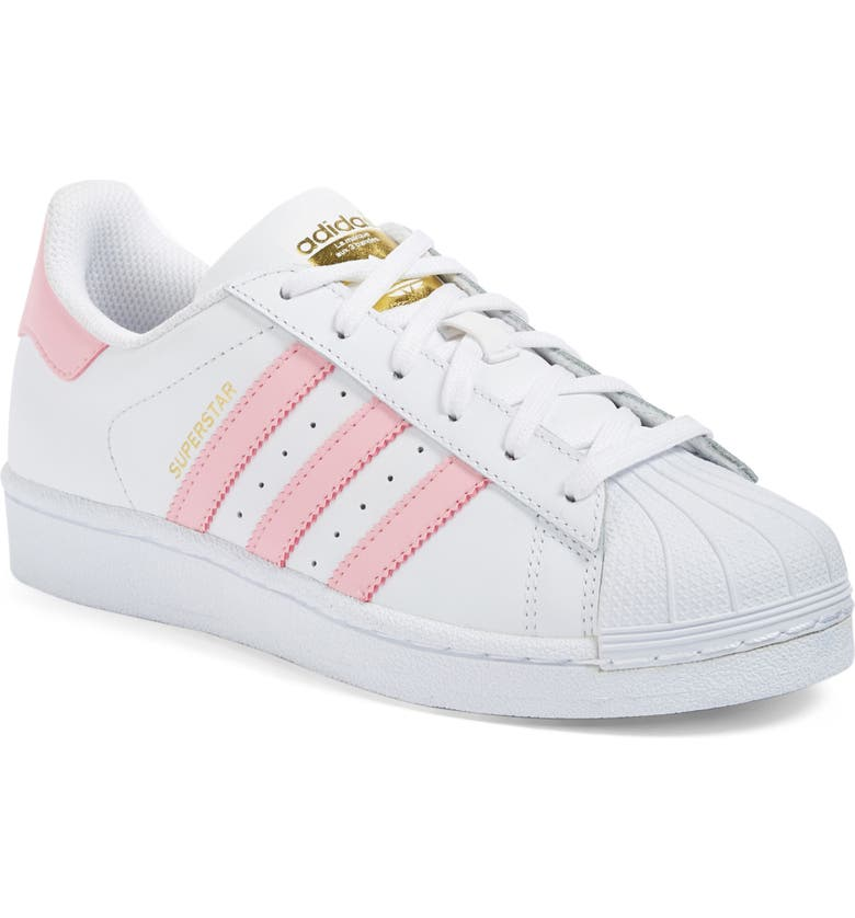 ADIDAS Superstar Foundation Sneaker, Main, color, WHITE/ LIGHT PINK/ GOLD