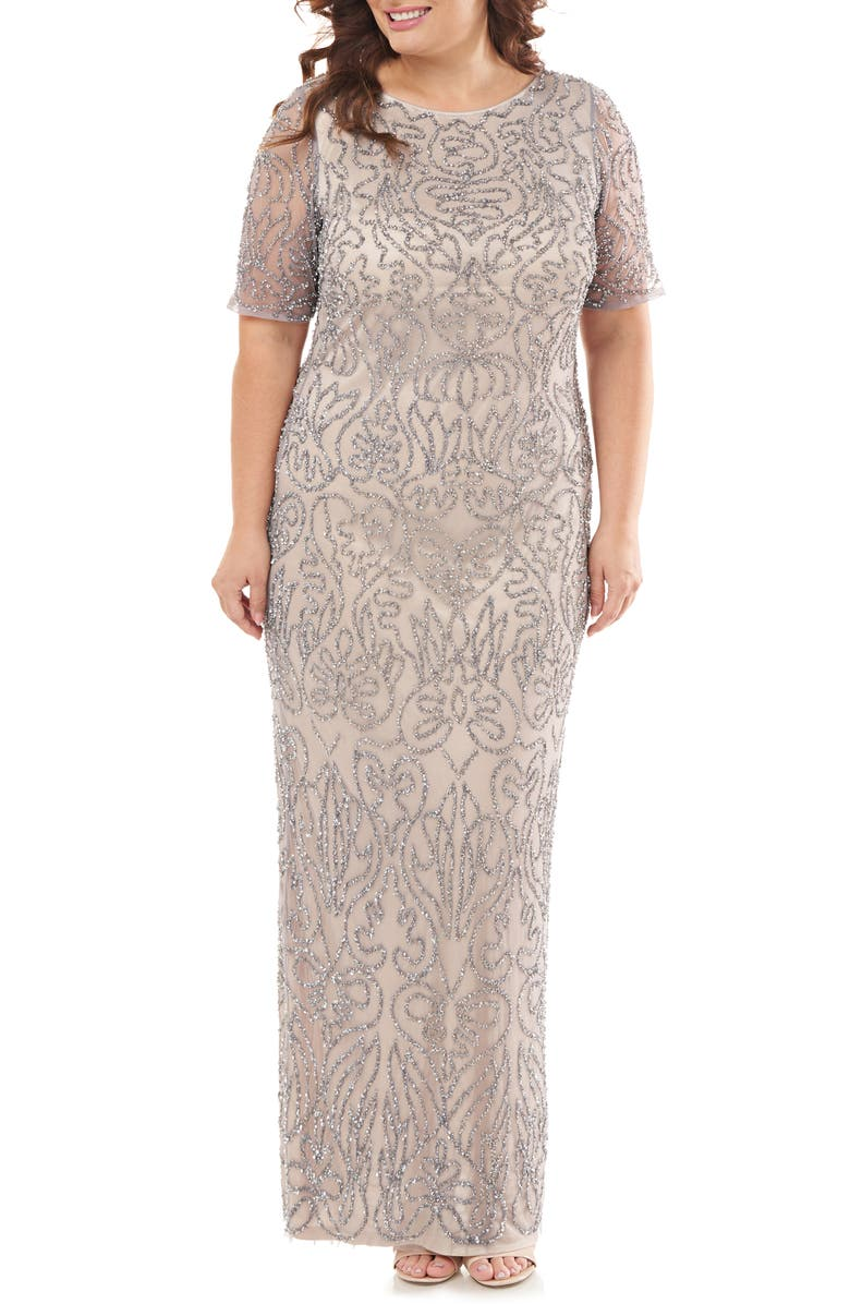 JS COLLECTIONS JS Collection Beaded Column Gown, Main, color, SILVER NUDE