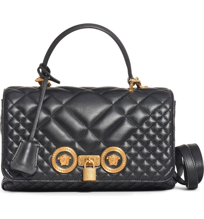 VERSACE Medium Icon Quilted Leather Shoulder Bag, Main, color, BLACK/ TRIBUTE GOLD