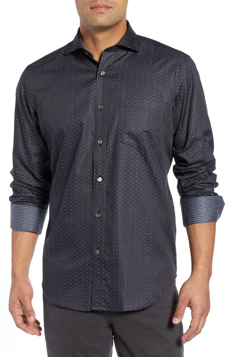 BUGATCHI Classic Fit Print Shirt, Main, color, CHARCOAL