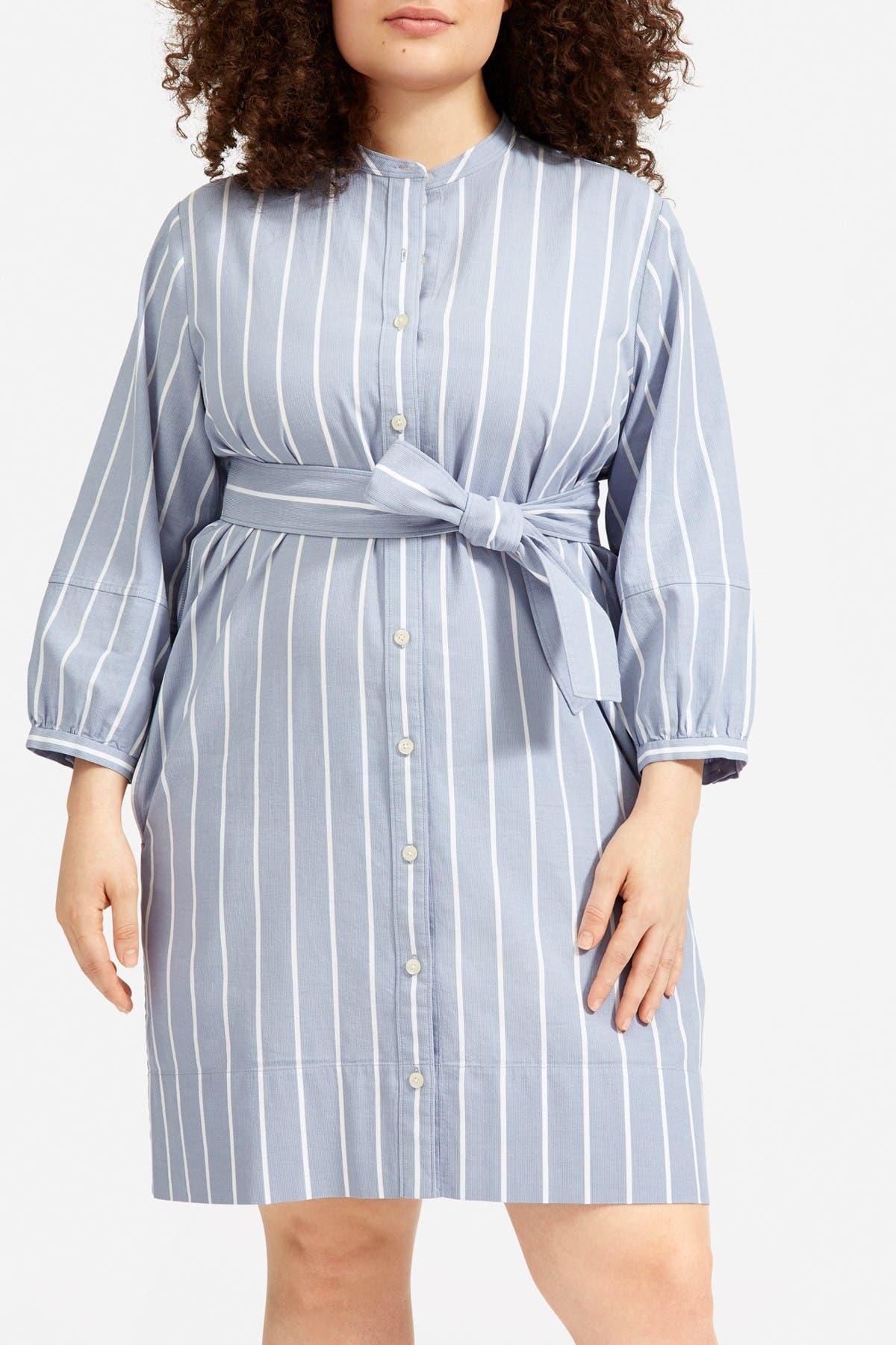 Image of EVERLANE The Cotton Weave Collarless Shirtdress