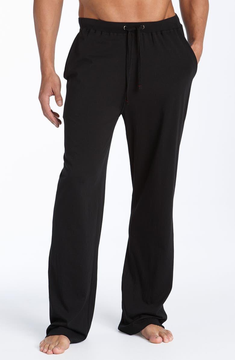 DANIEL BUCHLER Peruvian Pima Lightweight Cotton Lounge Pants, Main, color, BLACK