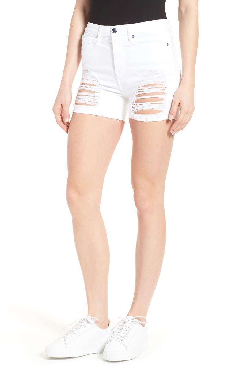 Good American Destroyed Cutoff Denim Shorts White 004 Extended Sizes