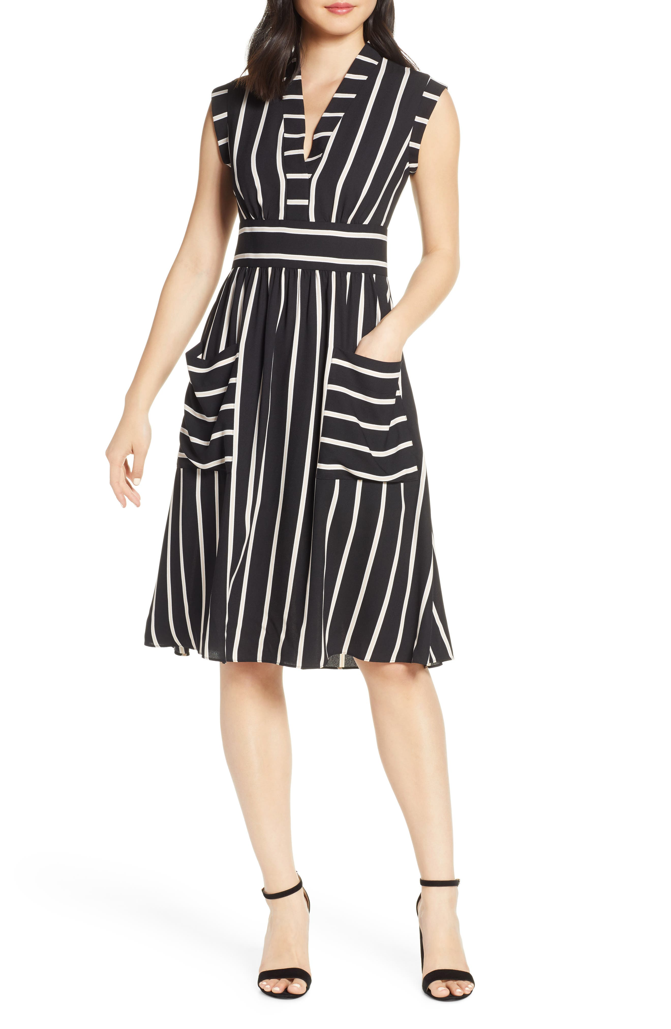 Vice Camuto Stripe Crepe Fit & Flare Dress, Black