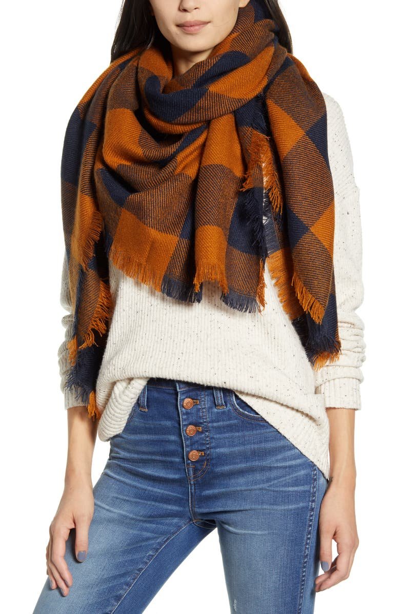 MADEWELL Buffalo Check Blanket Scarf, Main, color, GOLDEN PECAN