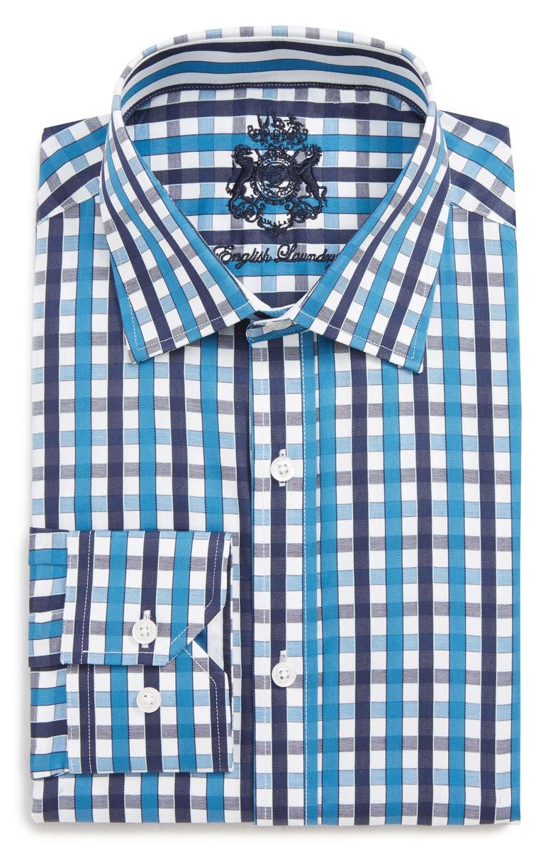 ENGLISH LAUNDRY Trim Fit Check Dress Shirt, Main, color, NAVY