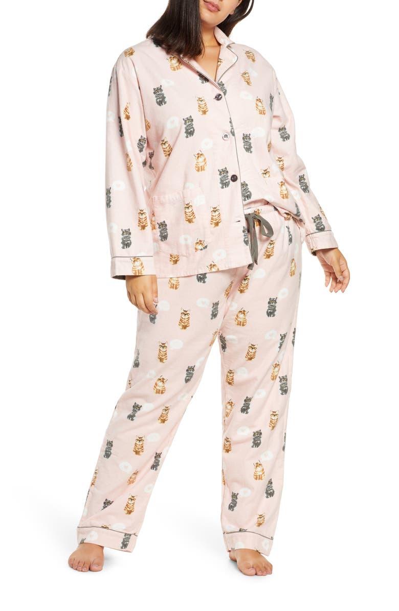 PJ SALVAGE Print Flannel Pajamas, Main, color, BLUSH