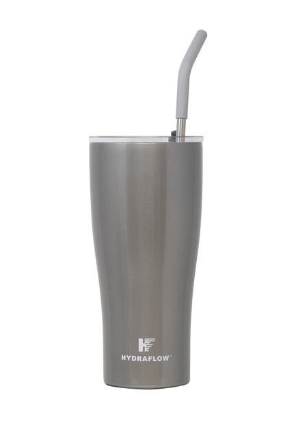Image of Gourmet Home HYDRAFLOW 30oz. CAPRI Insulated Stainless Steel Tumbler with Slide Lid & Straw - Glitter Silver