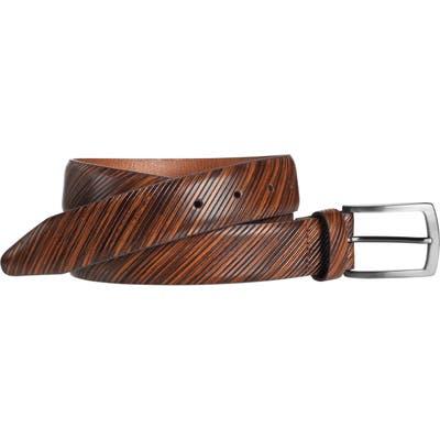 Johnston & Murphy Diagonal Embossed Leather Belt, Tan