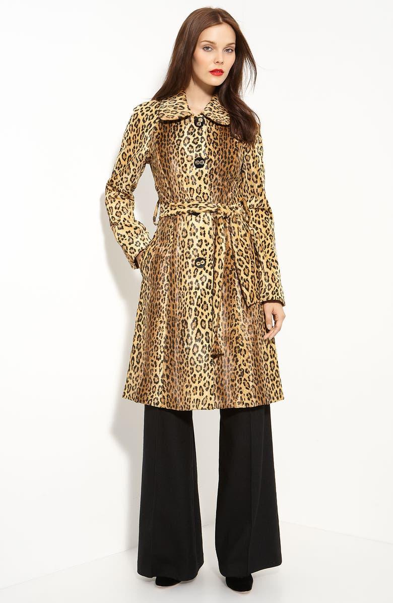 42a13af7845e 'Bianca' Belted Leopard Print Coat, Main, color, ...