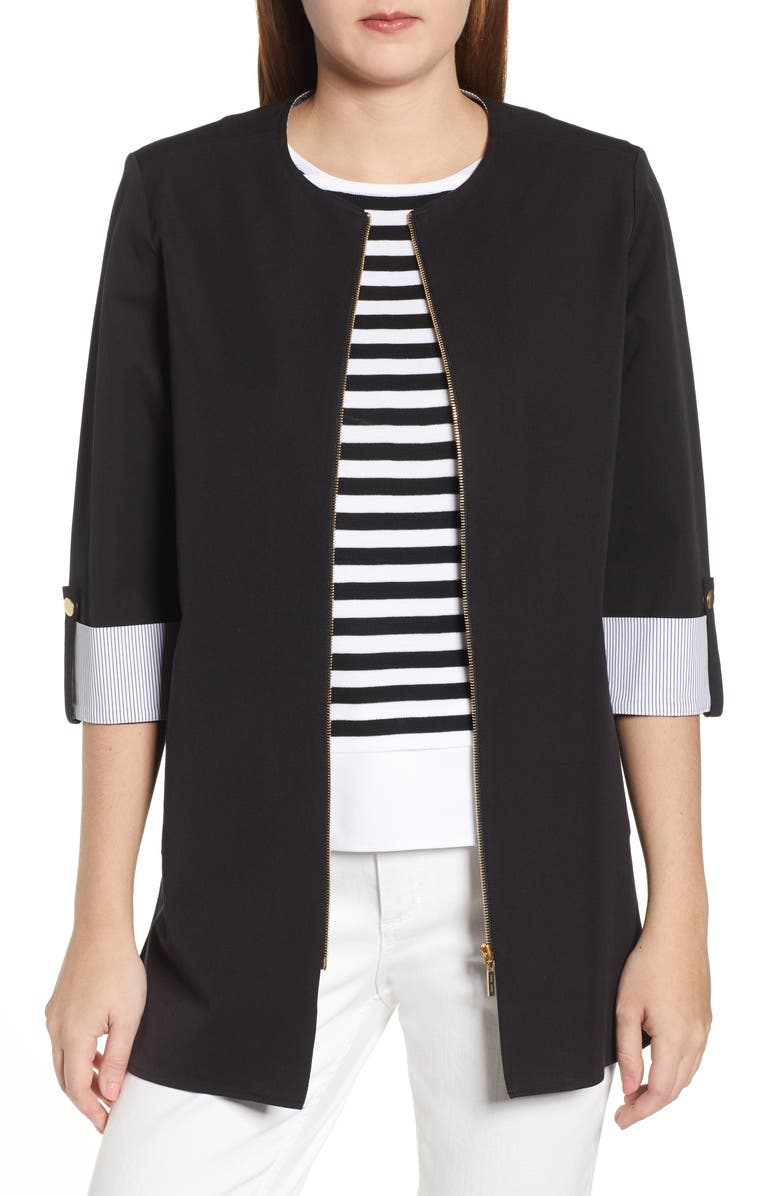 MING WANG Roll Sleeve Jacket, Main, color, BLACK/ WHITE