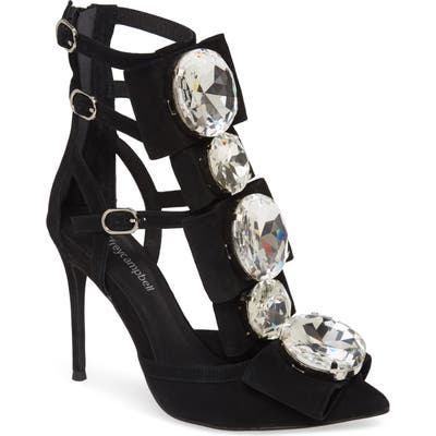 Jeffrey Campbell Beauty Bow & Crystal Strappy Pump, Black