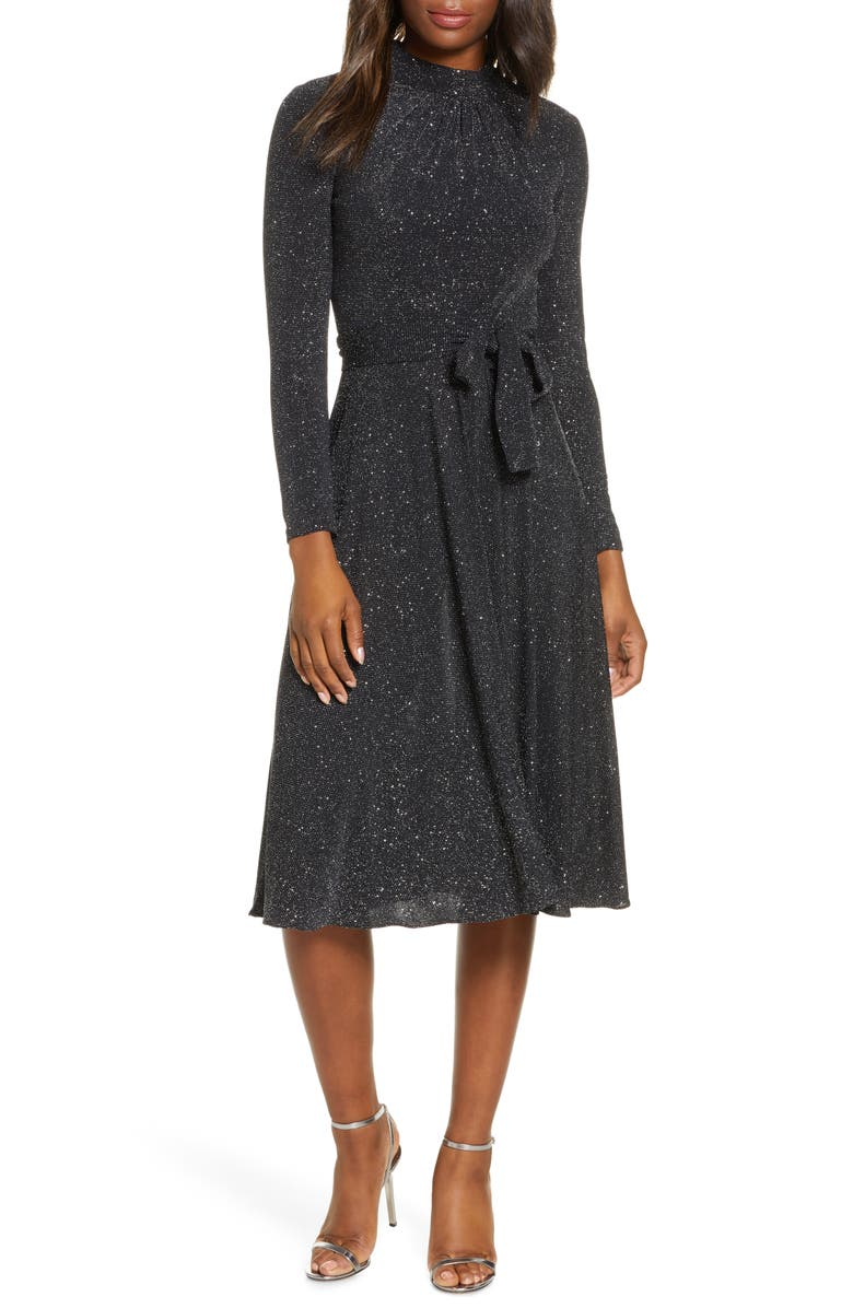 ELIZA J Glitter Long Sleeve Mock Neck Dress, Main, color, 006