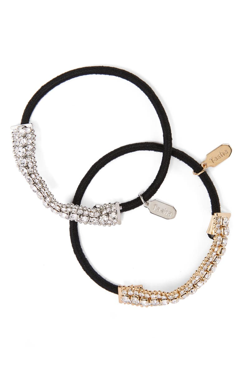 TASHA 2-Pack Crystal Ponytail Holders, Main, color, GOLD AND SILVER