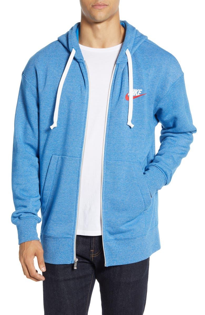 NIKE Sportswear Heritage Zip Hoodie, Main, color, BATTLE BLUE/ HEATHER