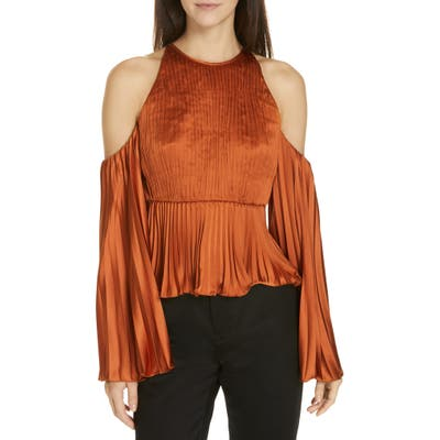Amur Kris Pleated Satin Top, Metallic