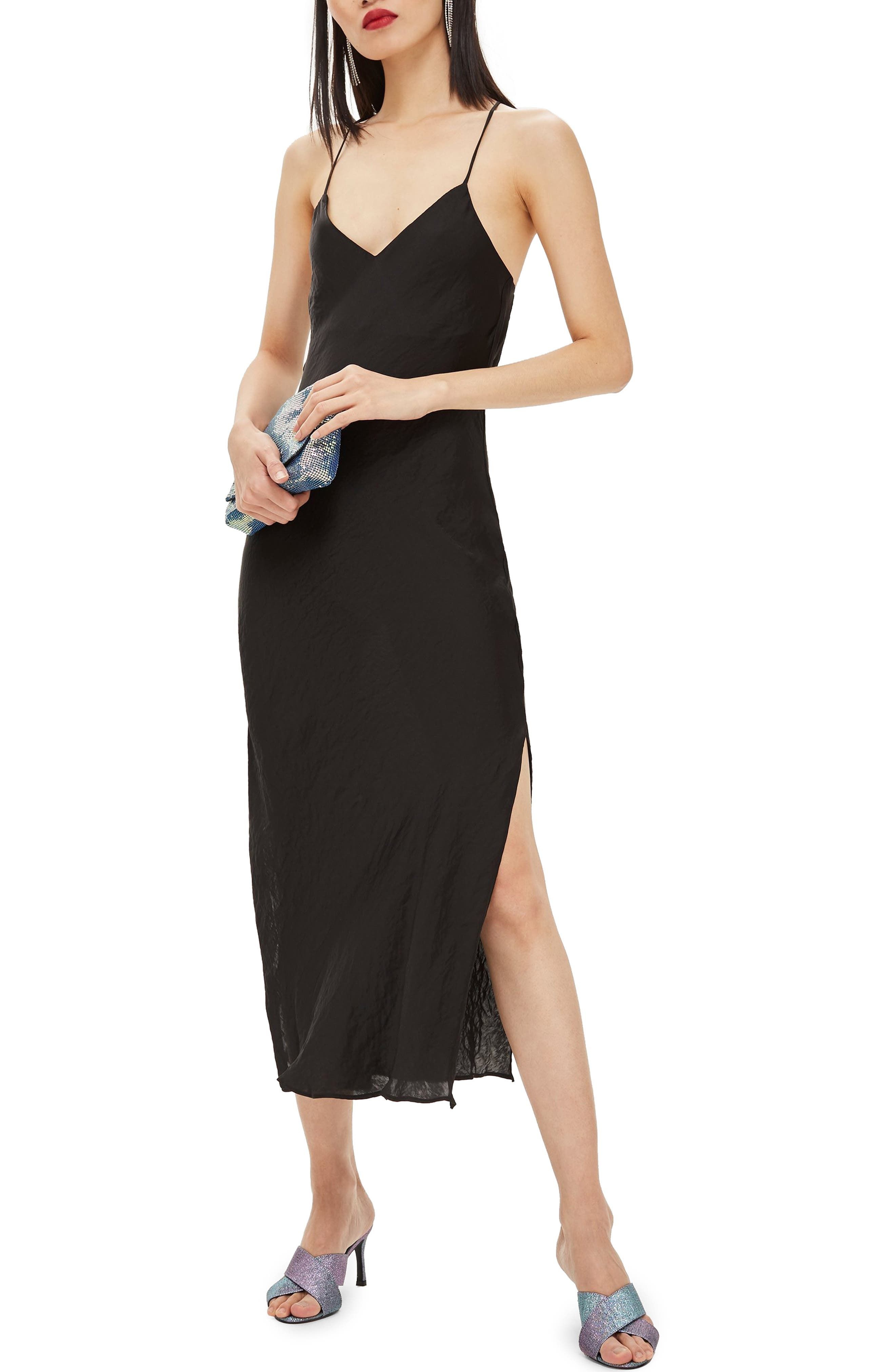 Plain Satin Slipdress, Main, color, BLACK