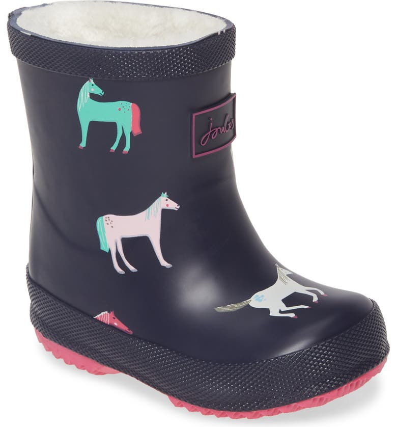 JOULES Print Welly Waterproof Rain Boot, Main, color, NAVY HORSES