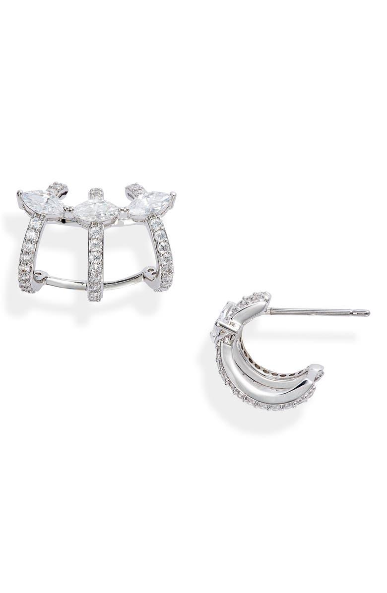 NADRI Rae Cage Hoop Earrings, Main, color, RHODIUM
