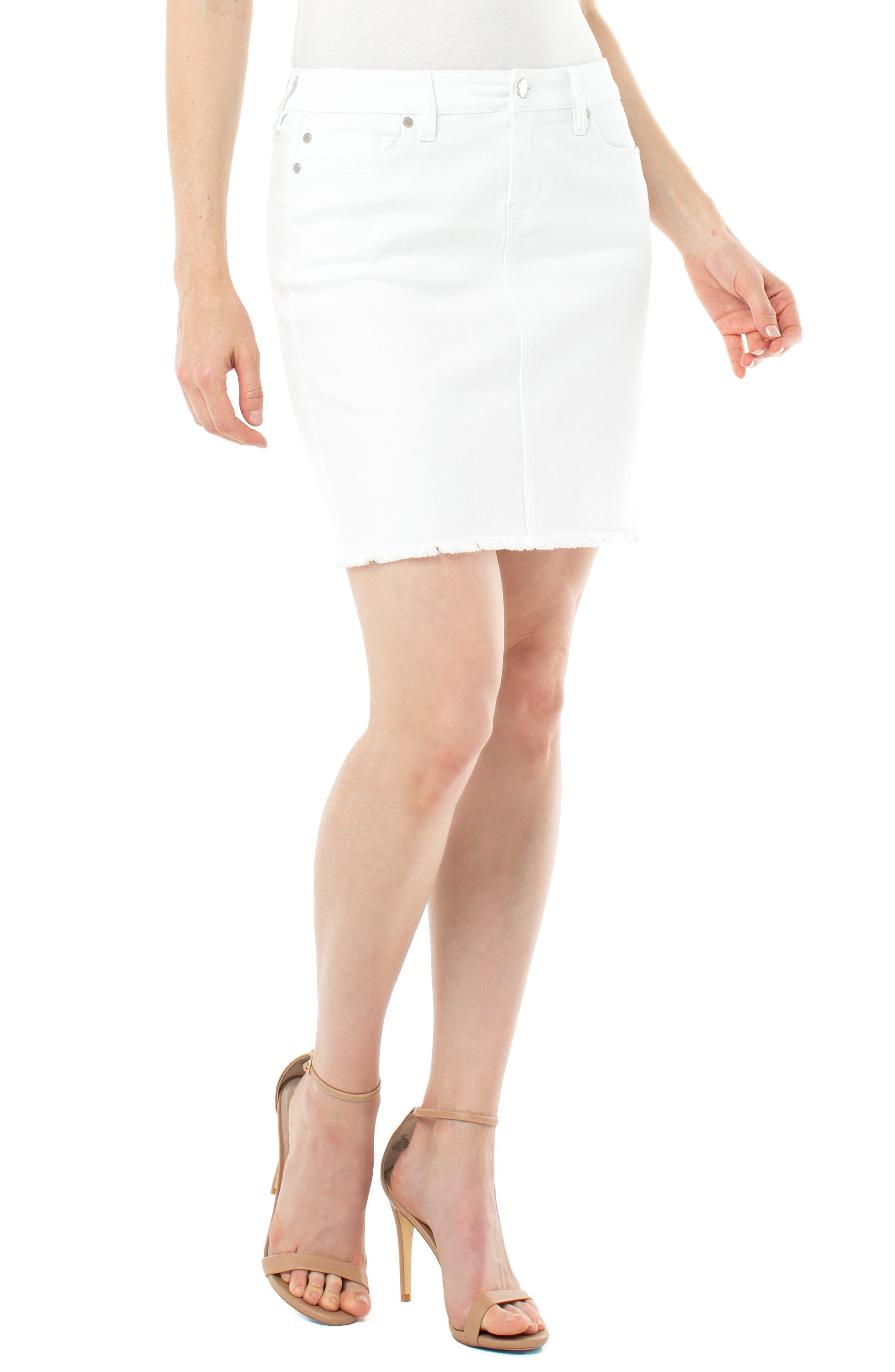 Fray Hem Denim Skirt
