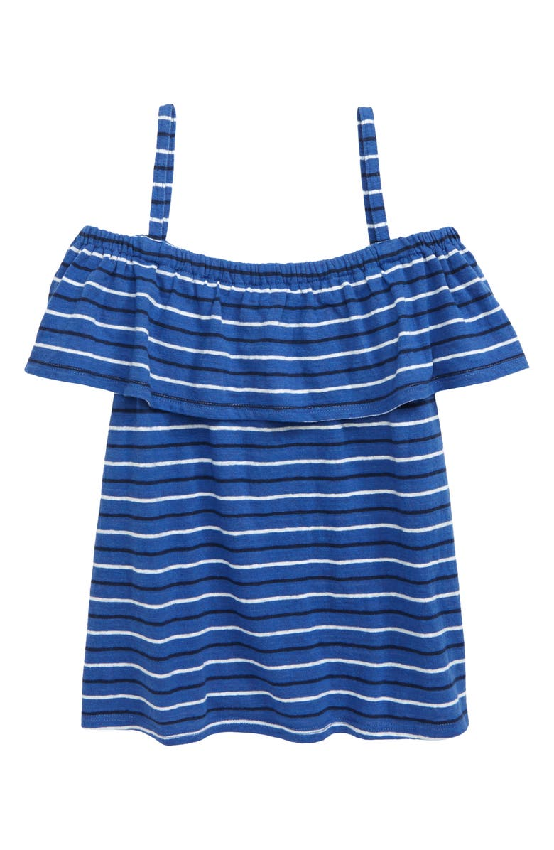TUCKER + TATE Ruffle Cold Shoulder Top, Main, color, BLUE MARINE FRENCH STRIPE