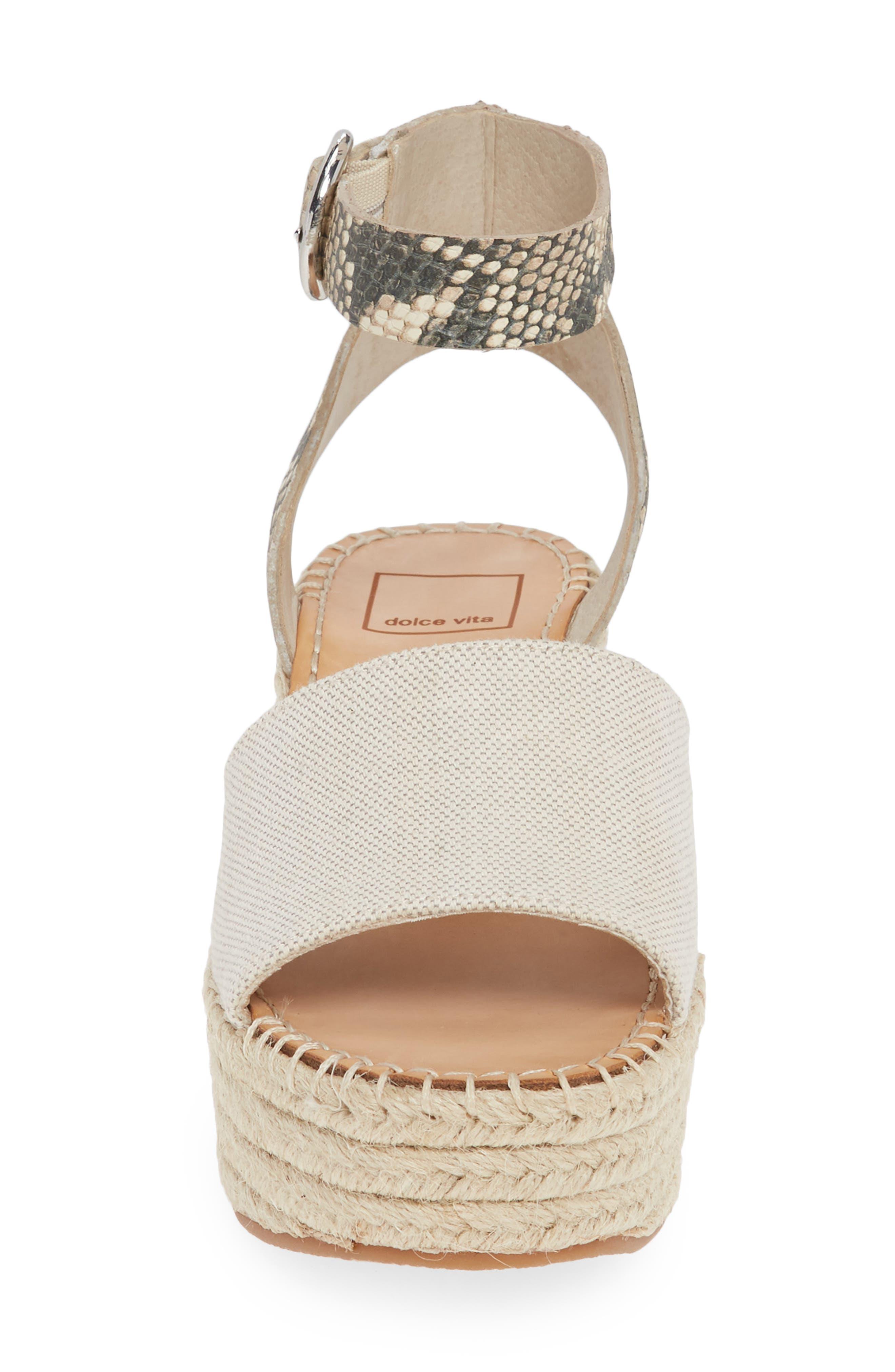 ,                             Lesly Espadrille Platform Sandal,                             Alternate thumbnail 4, color,                             NATURAL FABRIC