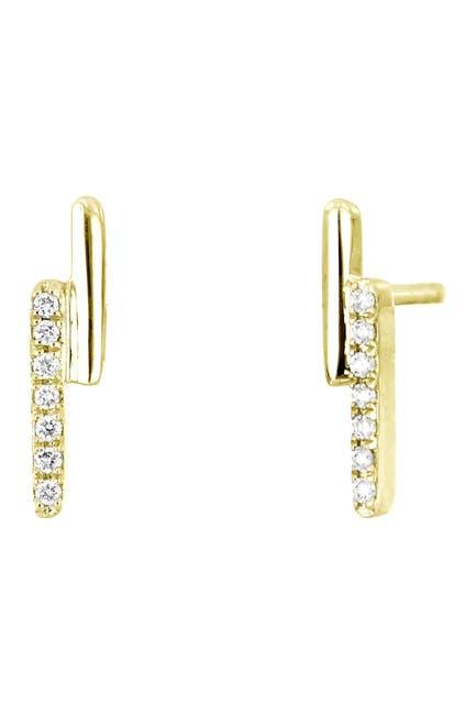 Image of Bony Levy Kiera 18K Yellow Gold Pave Diamond Double Stick Stud Earrings - 0.04 ctw