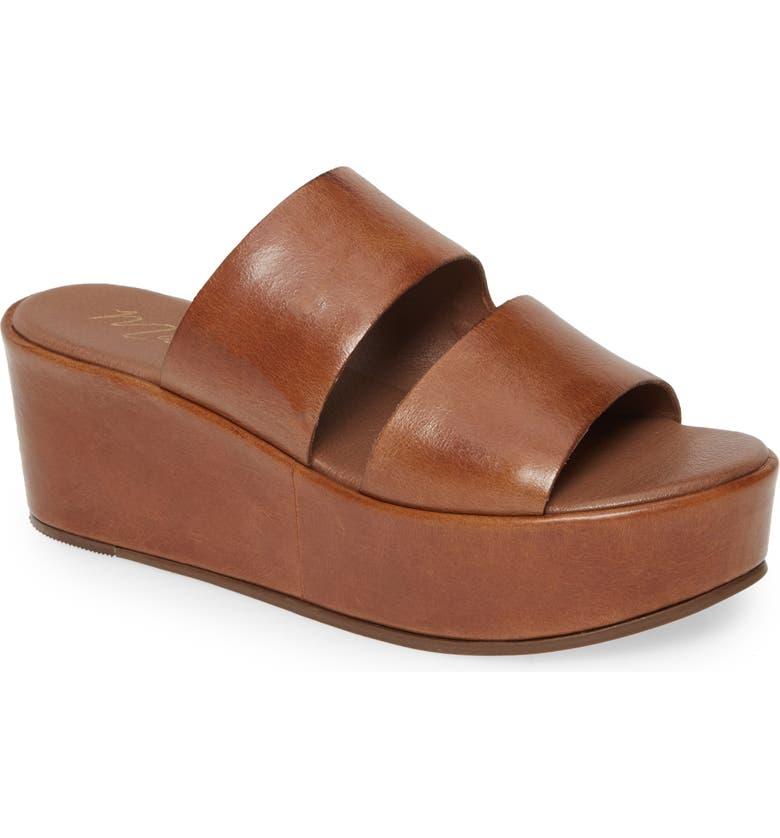 MATISSE Struttin' Platform Wedge Slide Sandal, Main, color, SADDLE LEATHER
