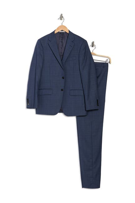 Image of Hickey Freeman Blue Plaid Two Button Notch Lapel Regular Fit Suit