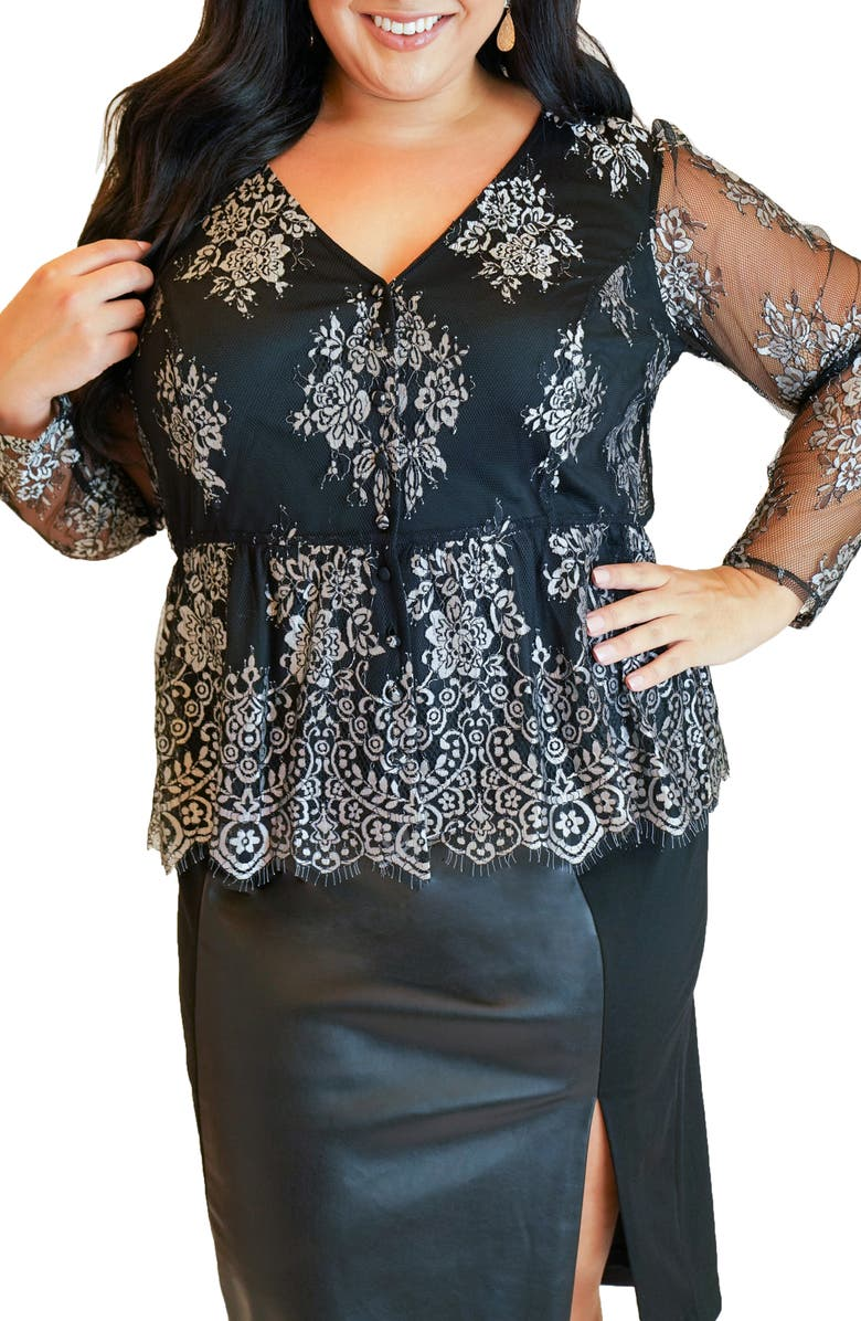MARÉE POUR TOI Long Sleeve Peplum Lace Tunic, Main, color, BLACK