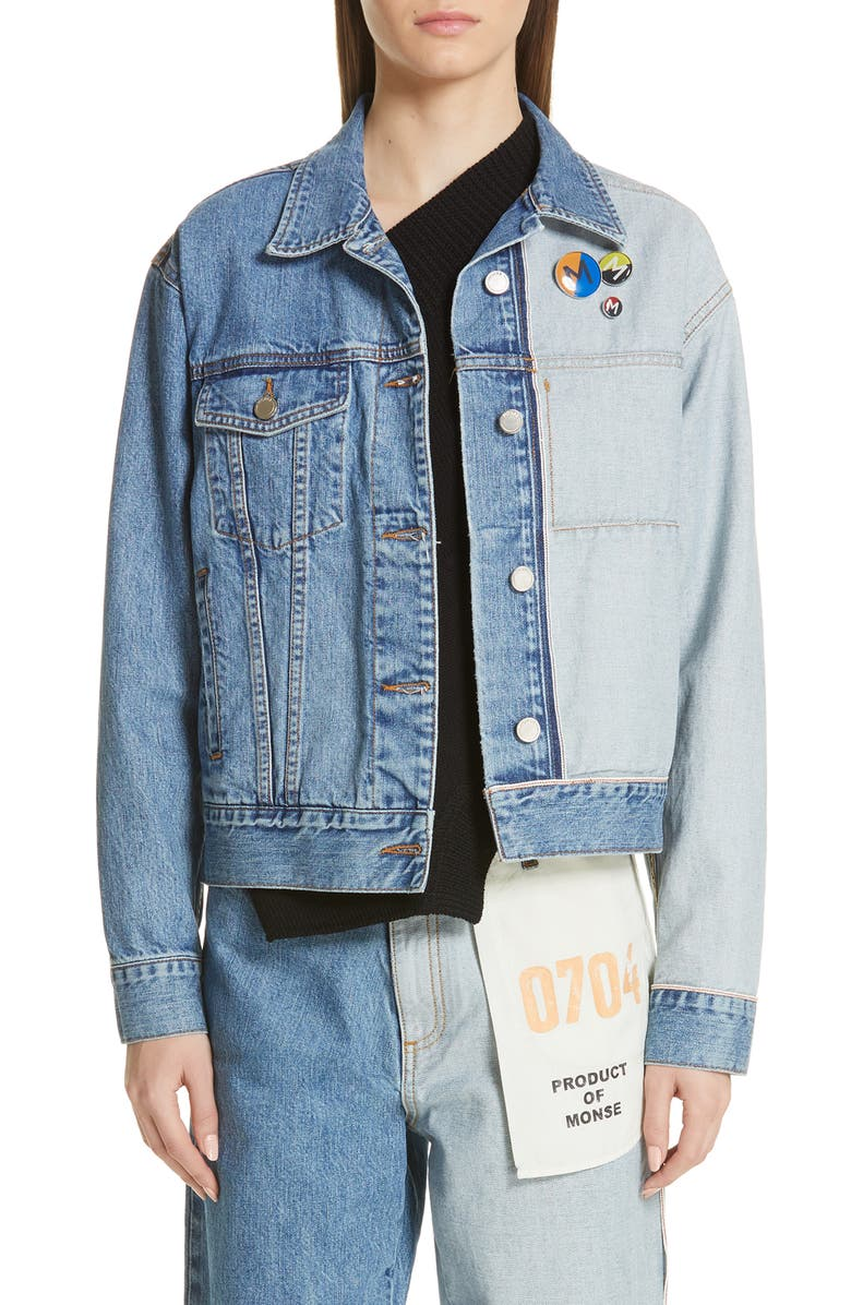 MONSE Inside Out Denim Jacket, Main, color, MED BLUE/ LIGHT BLUE