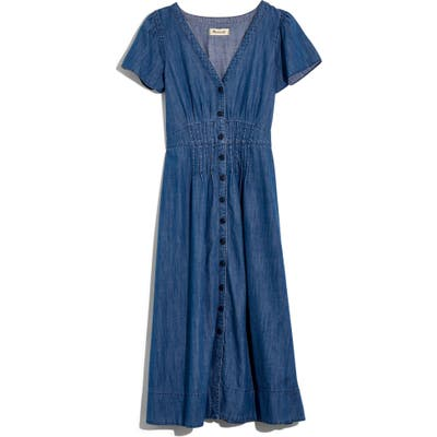 Madewell Pleat Waist Denim Midi Dress, Blue