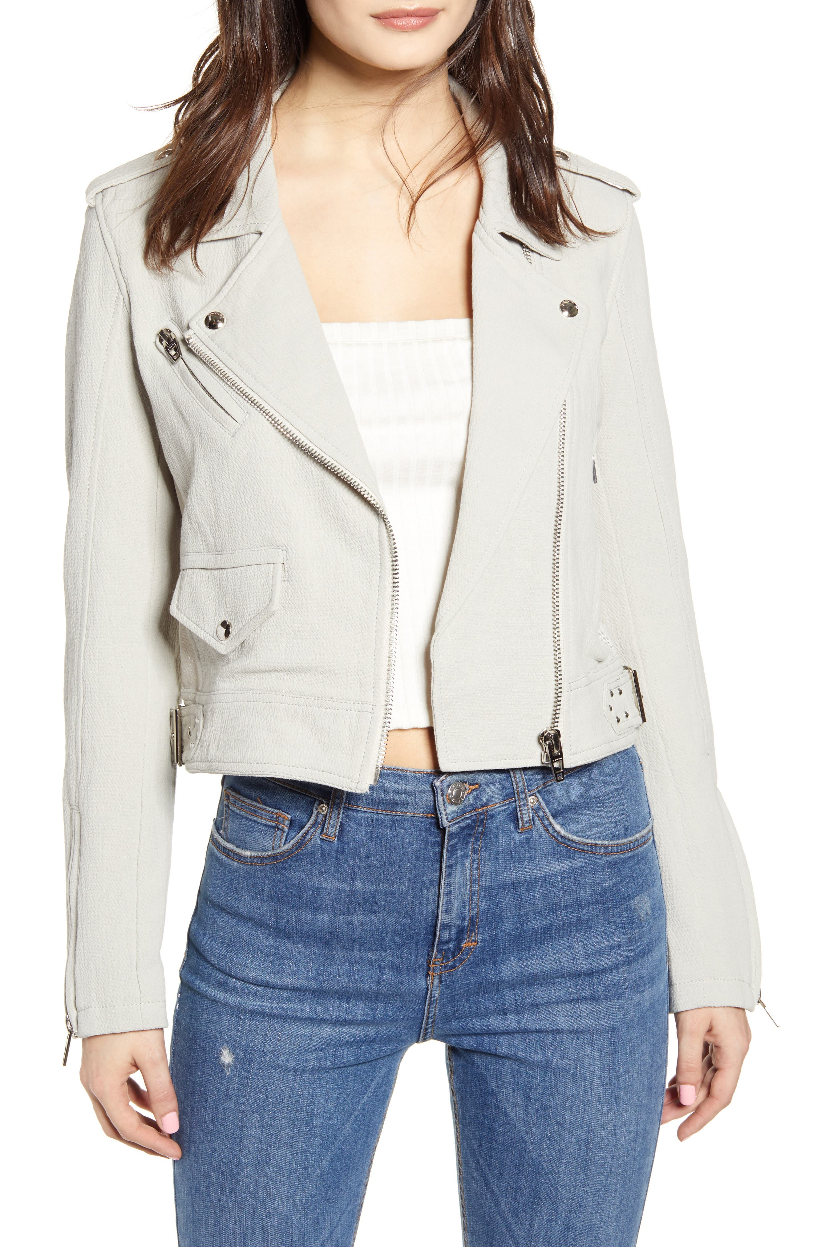Textured Cotton Moto Jacket, Main, color, LIGHT GREY