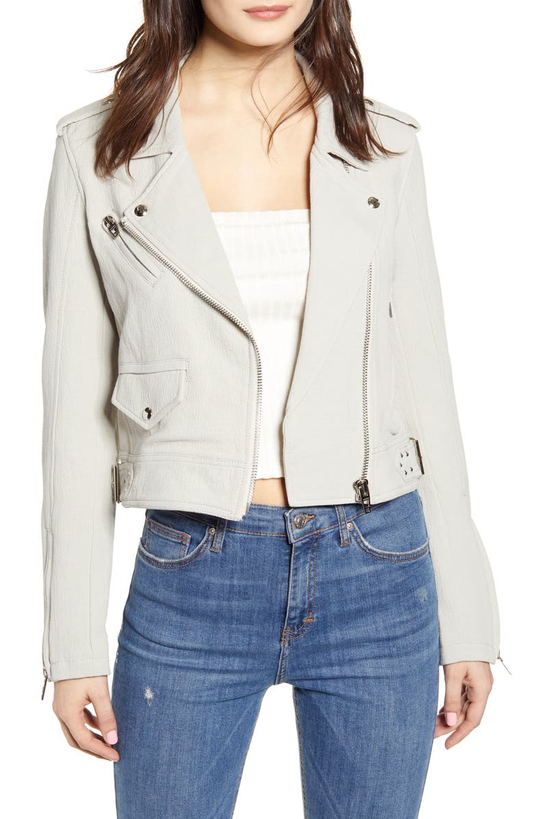 BLANKNYC Textured Cotton Moto Jacket, Main, color, LIGHT GREY