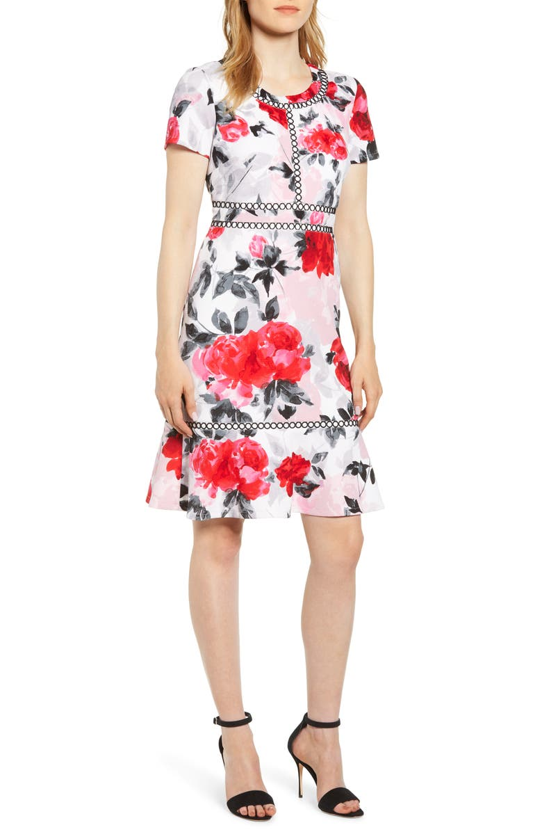 KARL LAGERFELD PARIS Embroidery Detail Short Sleeve Fit & Flare Dress, Main, color, 616