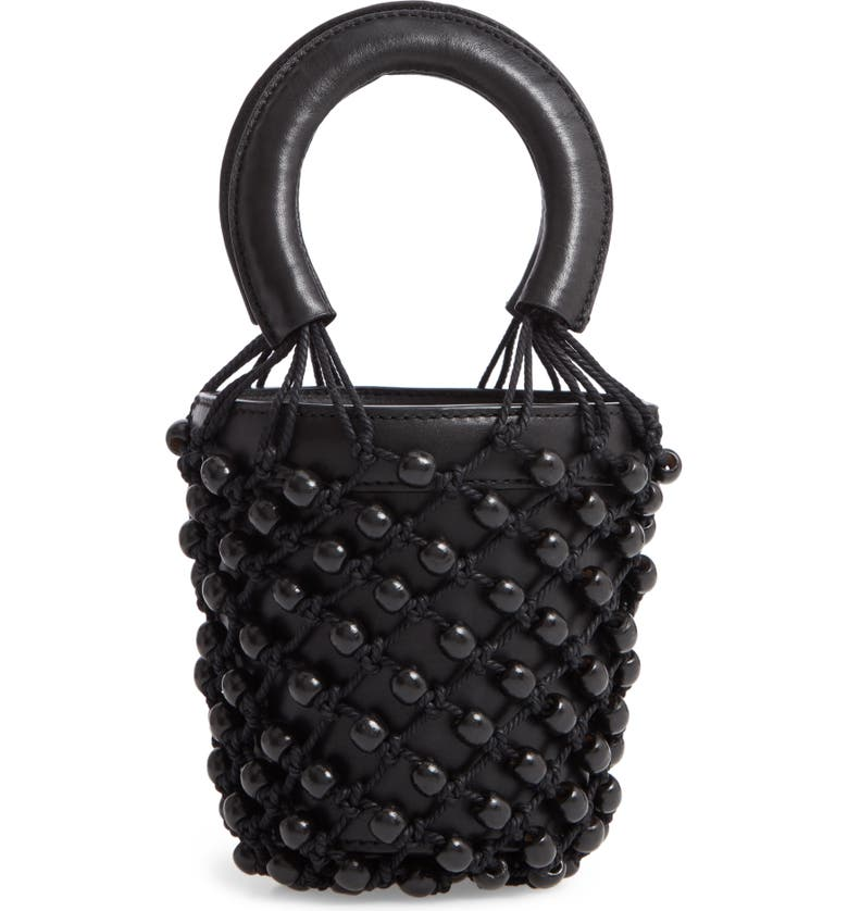 STAUD Mini Moreau Beaded Caged Bucket Bag, Main, color, 001