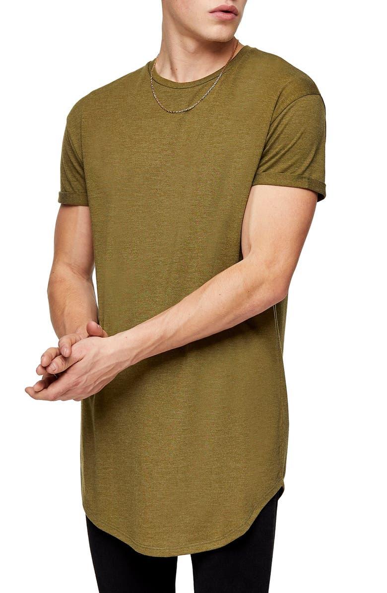 TOPMAN Scotty Longline Slim Fit T-Shirt, Main, color, GREEN