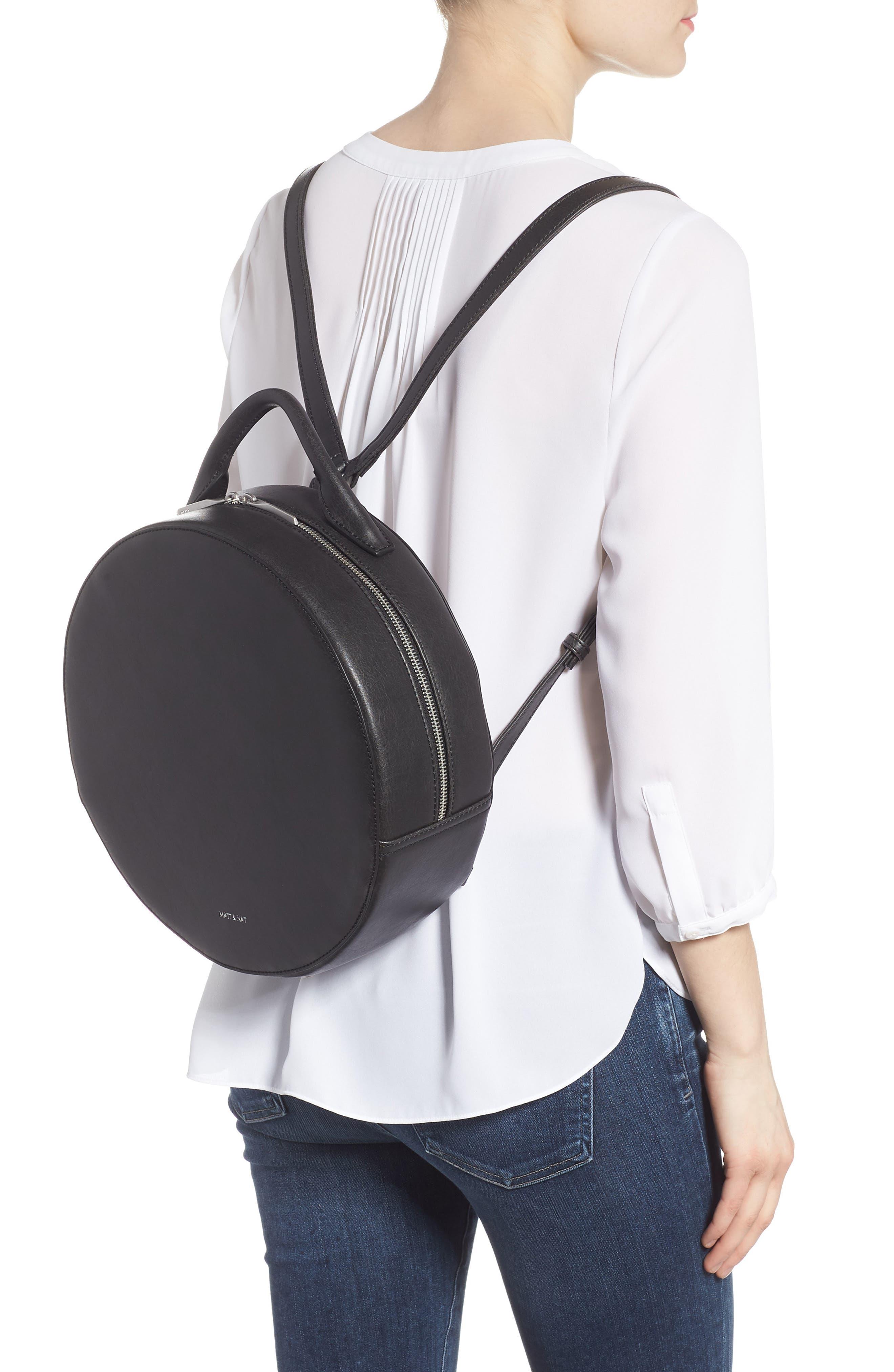 ,                             Kiara Faux Leather Circle Backpack,                             Alternate thumbnail 2, color,                             BLACK