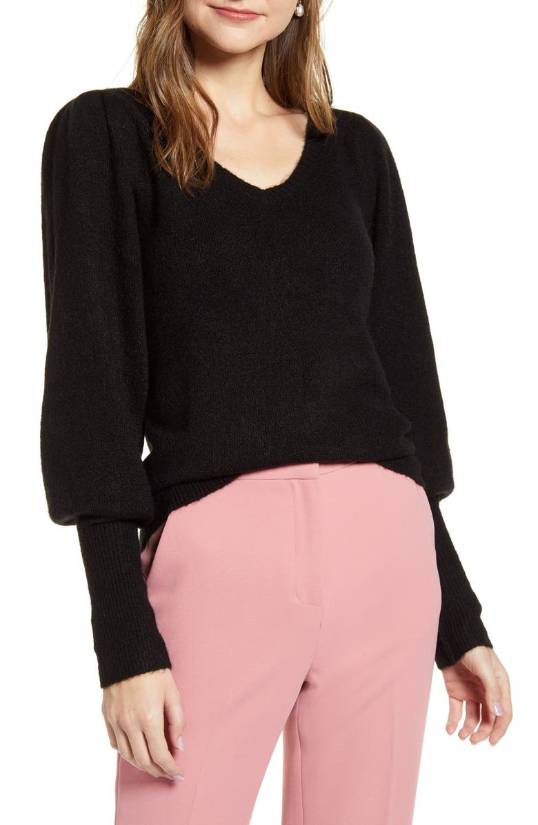 RACHEL PARCELL Puff Sleeve Sweater, Main, color, BLACK