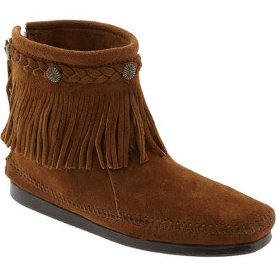 Minnetonka Fringed Moccasin Bootie, Brown